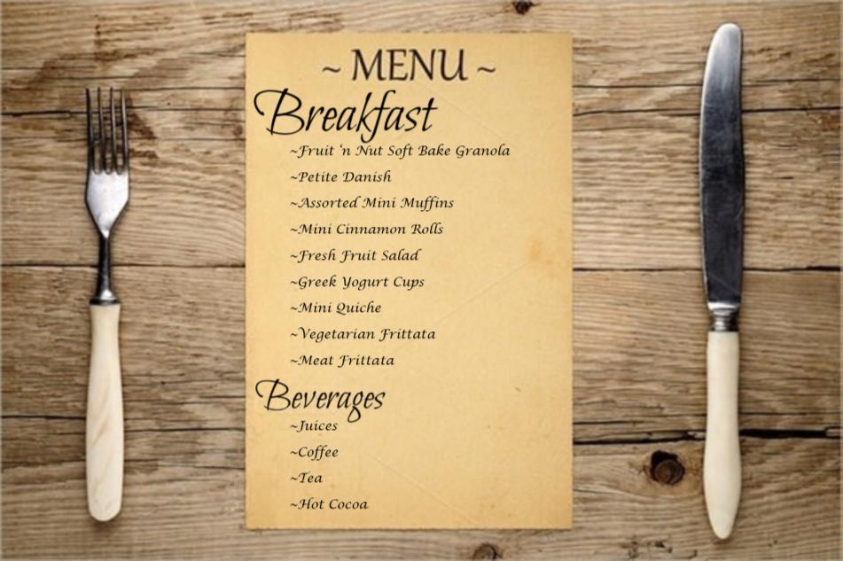 Menu display for breakfast