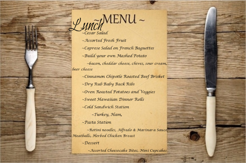 Menu display for lunch