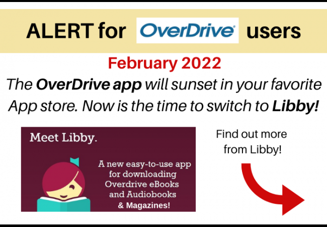 OverDrive app icon with text alert